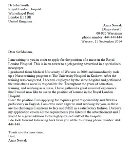 list motywacyjny po angielsku wzór pielęgniarka