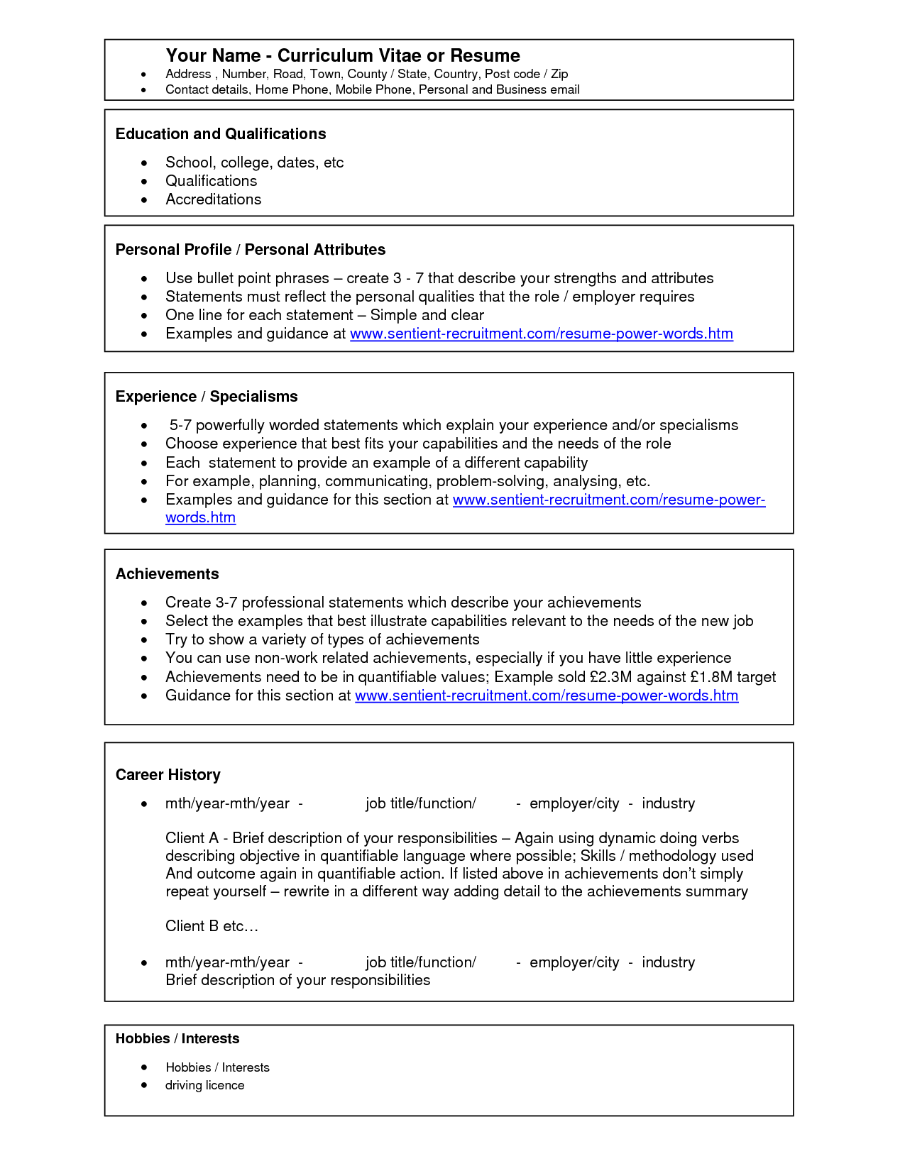 resume template ms word 2010