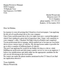 list motywacyjny po angielsku wzór kierowca