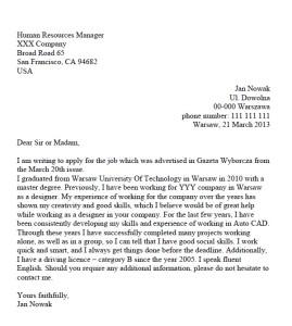 list motywacyjny po angielsku wzór projektant