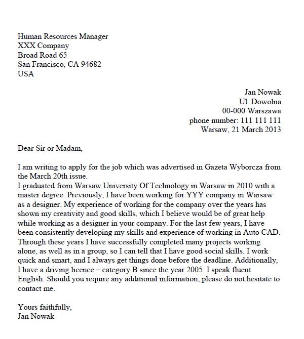 list motywacyjny po angielsku wz u00f3r - projektant