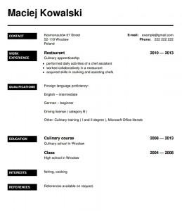 CV po angielsku wzór kucharz