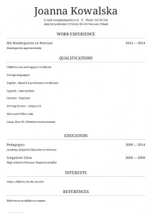 CV po angielsku wzór niania